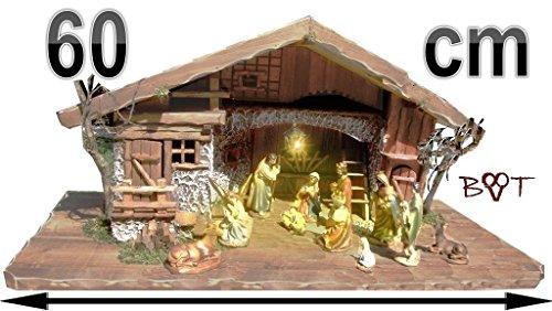 Große Weihnachtskrippe + Zubehör, BTV 68 cm massiv Vollholz Massivholz komplett mit hochwertigen PREMIUM FIGUREN , Krippe mit Figuren und Zubehör, ohne Beleuchtung Krippenställe K60MF