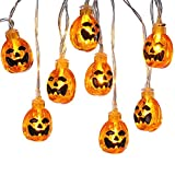 Icicle Battery Powered Pumpkin Halloween String Lights, 20 Led 9.51ft Halloween Decoration Lights (Orange)