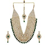 Jwellmart Indian CZ Traditional Bridal Wedding Party Wear Kundan Necklace Set for Women and Girls (Green)
