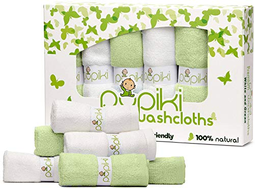 Pupiki Premium Baby Washcloths 6 Ultra-Soft Hypoallergenic 100% Organic Bamboo from rayon fiber Baby bath Washcloth Face towels Absorbent 10X10 Newborn Towel Pack Unisex Baby Shower Gift White & Green