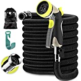 9. Expandable Garden Hose - Water Hose with Solid Brass Fittings - Flexible Lightweight Expanding Garden Hose - Strongest Durable Stretch Fabric - Hose Spray Nozzle - no Kink Garden Hoses black (50 FT)