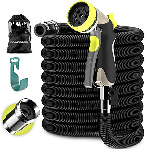 Expandable Garden Hose – Water Hose with Solid Brass Fittings – Flexible Lightweight Expanding Garden Hose – Strongest Durable Stretch Fabric – Hose Spray Nozzle – no Kink Garden Hoses black (50 FT)