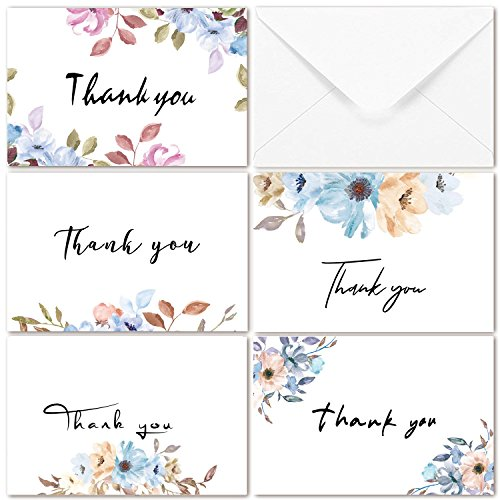 Purple Floral Thank You Notes Cards 40 Bulk - Assortment Greeting Cards with Envelopes for Wedding, Girls Baby Shower, Birthday,Valentine's Day, Bridal Shower Occasions