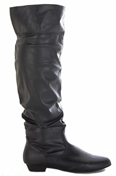 1c87f4fec12 SIZE 6 BLACK FAUX LEATHER - LADIES WOMENS WINTER FLAT LOW HEEL OVER CALF KNEE  HIGH
