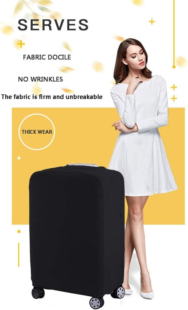 U-Shaped Black Trolley case Suitcase Cover The Fabric is Firm and Unbreakable Suitcase Sleeve Cover Dust-Proof,Wear Protection,No Odor,Spandex Luggage Protector 24-42 inches Size : S