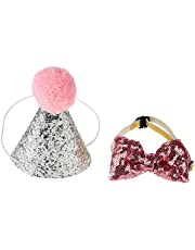 2 Pcs Birthday Hat, Pet Cat Dog Birthday Caps Reusable Headwear Bowknot Party Costume Perfect Dog for Puppy Birthday Gift (Pink)