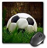 3dRose LLC 8 x 8 x 0.25 Inches Mouse Pad, Black Soccer Ball (mp_3538_1)