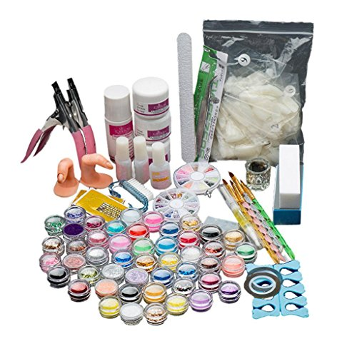 Fancy Colored Stone Sets (Anboo 29 In 1 Acrylic Nail Art Kit Tools Tips Colored Stones Brush Set Glitter Powder Sponge Template)