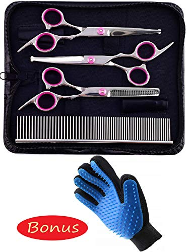 ELMA ALMI Dog Grooming Scissors Kit Rounded Tip - Pet Grooming Glove Included, Dog Scissors for Grooming Face, Nose, Ears and Grooming Glove for Dogs, Cats and More Pets ()