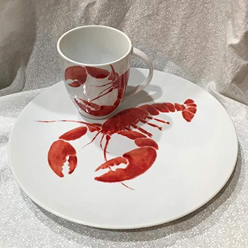 "Studio Nova Red Lobster 11"" Dinner Plate/Platter and Coffee Mug/Cup"