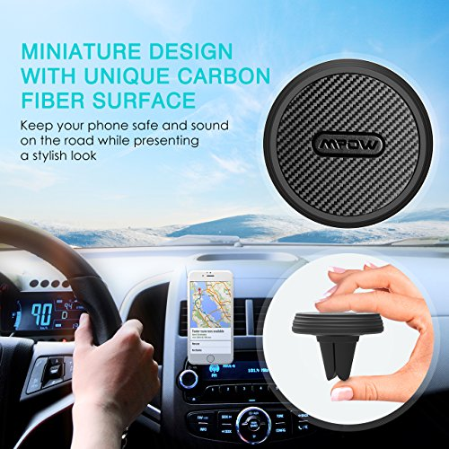 Mpow Magnetic Air Vent Car Mount Holder, Carbon Fiber Cell Phone Cradle, Universal Smartphone Holder for iPhone X/8/7/7 Plus, Google Pixel, LG G6, Huawei P9/P9 Plus, Samsung Galaxy S8 S7 S6 etc.