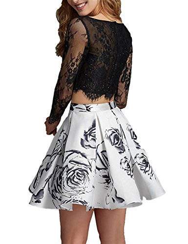 Gowns Prom Piece Lace Dresses 2 White Homecoming Vintage Print XingMeng Short Floral OngWSvSx