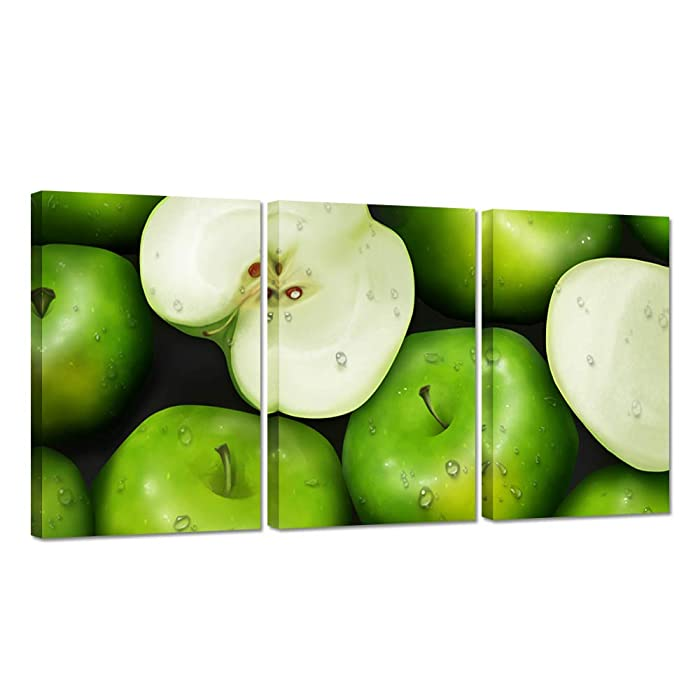 ZingArts 3 Panel Kitchen Picture Wall Decor Group of Green Apples with Water Drop Food Painting Artwork on Canvas Stretched and Framed Modern Home Decoration Ready to Hang 16x24inchx3pcs