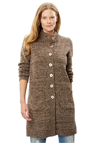 Woman Within Plus Size Marled Sweater Jacket - Light Khaki Chocolate, 1X -