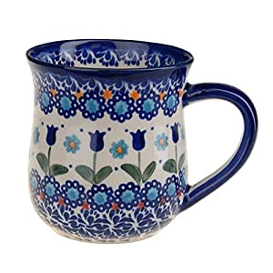 BCV Classic Boleslawiec, Polish Pottery Hand Painted Ceramic Mug 300ml, 053-U-006