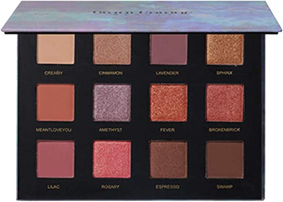 Pallette sombras de maquillaje, lonshell 12 colores ahumado de sombra de ojos de maquillaje cosmética color cálida de paleta sombra de ojos: Amazon.es: Belleza
