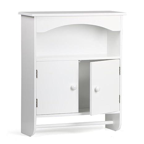 Amazon.com: Yaheetech Wooden Bathroom Wall Cabinet with 2 Doors, 1 on