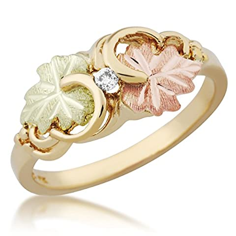 Diamond with Grape Leaves Ring, 10k Yellow Gold, 12k Green and Rose Gold Black Hills Gold Motif, Size - Black Hills White Gold Bands