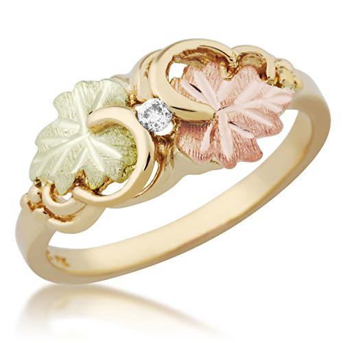Diamond with Grape Leaves Ring, 10k Yellow Gold, 12k Green and Rose Gold Black Hills Gold Motif, Size 7 by Black Hills Gold Jewelry