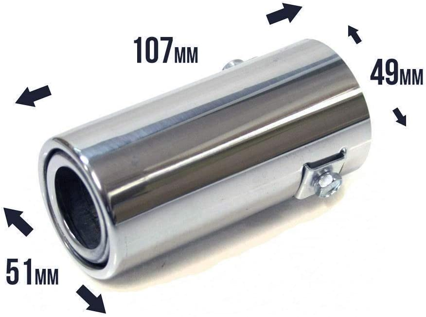 Universal 0091 Car Exhaust Tip Trim End Pipe Tail Sport Muffler Stainless Steel Chrome
