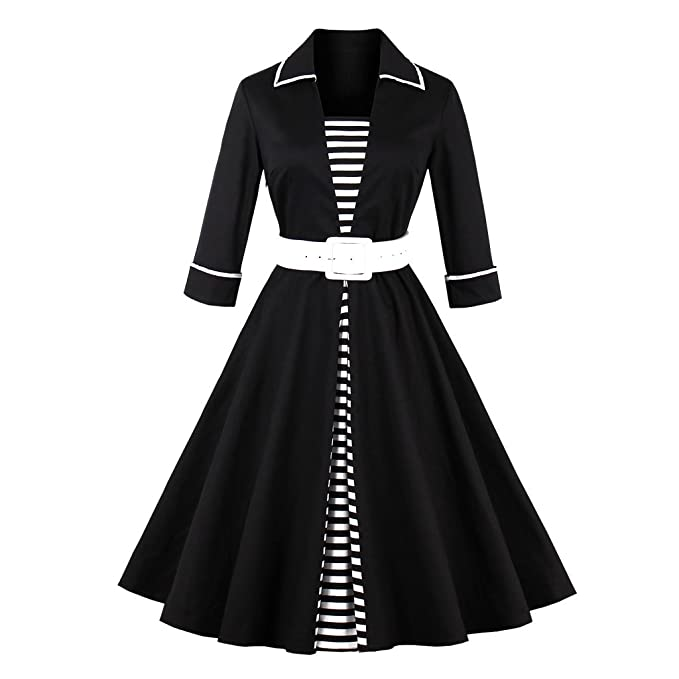 KeKeD23921 Vintage 1950 Vestidos Vestido de Manga Larga de Mujer Otoño Patchwork Negro Rayas Fajas Rockabilly Swing Otoño Vestido de Fiesta Vestidos: ...