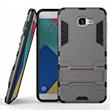 Heartly Samsung Galaxy A9 Pro Back Cover Graphic Kickstand Hard Dual Rugged Armor Hybrid Bumper Case - Metal Grey