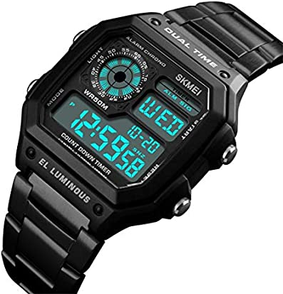 Men' s Watch Black Classic Square Multifunction Digital Sport Dual-Time Countdown Alarm LED Stainless Steel Band Wrist Watch for Men