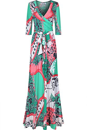 Bon Rosy Women's 3/4 Sleeve Deep V-Neck Printed Maxi Faux Wrap Dress, Turquoise Paisley, Small (Paisley Wrap Mock)