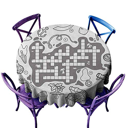 ONECUTE Round Outdoor Tablecloth,Word Search Puzzle Colorless Pirates Themed Educational Puzzle Treasure Map and Icons,for Events Party Restaurant Dining Table Cover,40 INCH Grey Black White -