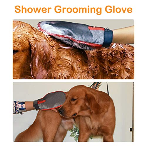 Stepless Adjustable Speed a Comb and a Shower Massage Glove Black Dog Hair Grooming Dryer with Heater CHAOLUN Dog Dryer High Velocity Professional Pet Dog Blow Dryer 3.2HP 3 Different Nozzles
