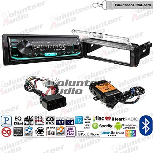 Volunteer Audio JVC KD-X360BTS Single Din Radio PAC Motorcycle Install Kit with Bluetooth, Sirius XM Ready, AUX/USB Fits 1998-2013 Harley Davidson Electra Glide, Road Glide, Street Glide, Tour Glide