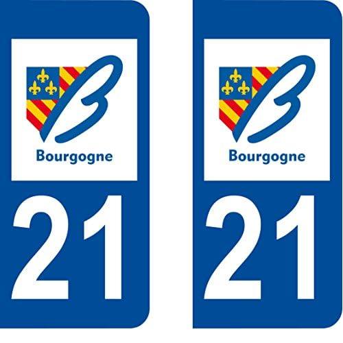 2 Stickers Autocollant style Plaque Immatriculation département 21 good