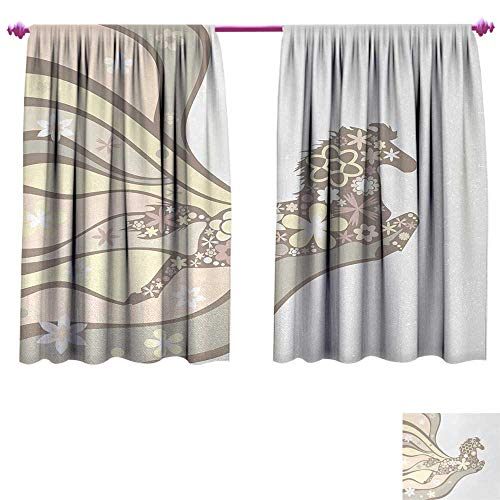 Anniutwo Nature Decorative Curtains for Living Room Floral Horse Galloping Equestrian Unique Inspirational Freedom Graphic Window Curtain Drape W84 x L72 Pale Yellow Peach Cocoa