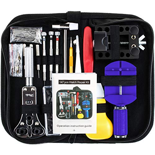 Vastar 147 PCS Watch Repair Kit Professional Spring Bar Tool Set, Watch Band Link Pin Tool Set with Carrying Case ()
