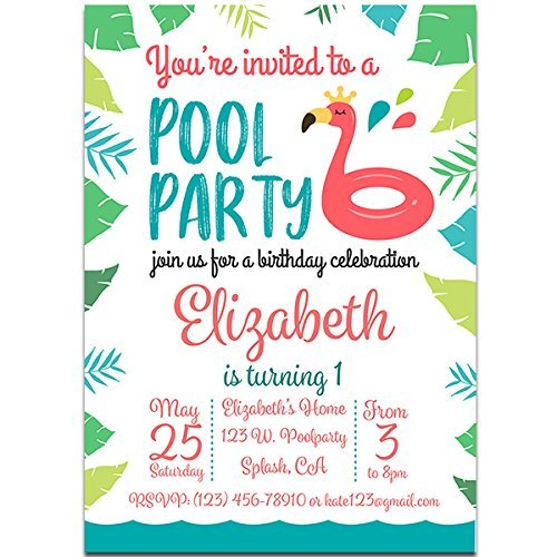 Amazon Com Flamingo Pool Party Invitations Handmade