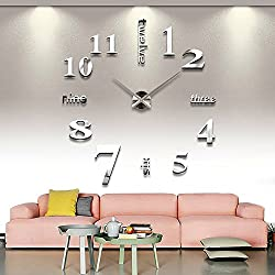 Modern Wall Clock 3D Mirror Wall Clock Large Mute DIY Frameless Clock with Numbers Wall Sticker Clock Decoration for Home Office by AENMIL(Silver)