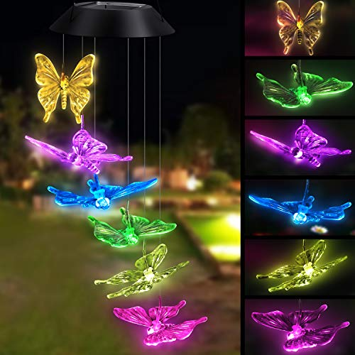 Topspeeder Solar Powered Color-Changing Led Butterfly Wind Chimes Multi Solar Powered Mobile Waterproof Automatic Light Sensor Outdoor Decor (Butterfly)