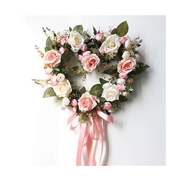 Liveinu Handmade Floral Artificial Simulation Peony Flowers Garland Wreath Wedding Table Centerpieces for Home Party Decor 14″ Heart Shape Pink Door Wreath with Ribbon