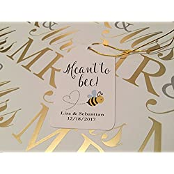 Cream Wedding Tags - Small Personalized Favor Tags -Meant To Bee (Set of 20)
