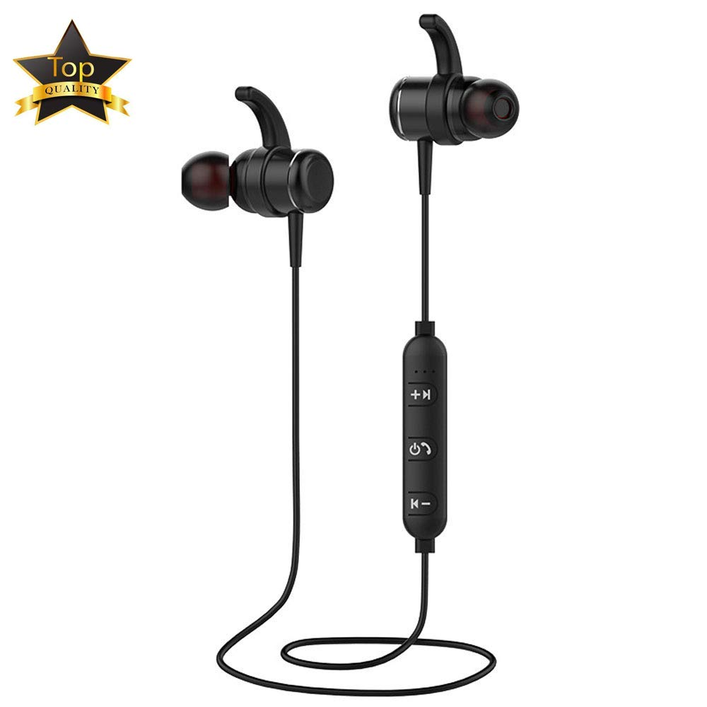 Bluetooth Headphones, Wireless Sports Earphones w Mic IPX7 Waterproof HD Stereo Sweatproof in Earbuds for Gym Running Workout 4 Hours Battery Noise Cancelling Headsets