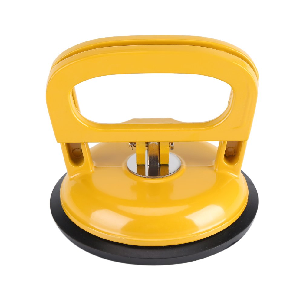 Heavy Duty Single Plate Suction Cup Glass Lifter Mover Dent Aluminium Alloy Pad for Car Repair Puller Yellow Diameter 4.8Inch Fdit