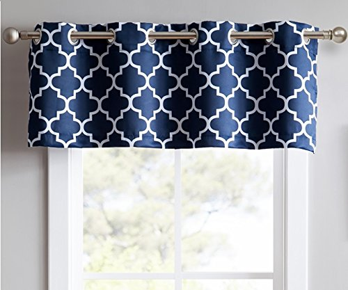 HLC.ME Lattice Print Thermal Insulated Room Darkening Blackout Grommet Tier Valance for Kitchen, Bedroom, Living Room & Small Windows - Navy Blue - 52