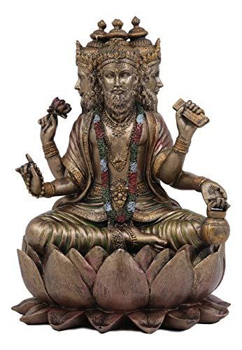 (Ebros Supreme Cosmic Soul Hindu Deity Brahma Statue Brahman Four Faced Vedas Trinity Being Figurine Sitting On Lotus Throne Hinduism Deity Indian Mahadeva God)