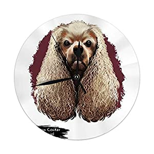 "Round Wall Clock American Cocker Spaniel Dog Digital Art Breed of Sporting Decorative for Home,Office,School 9.8"" 36"