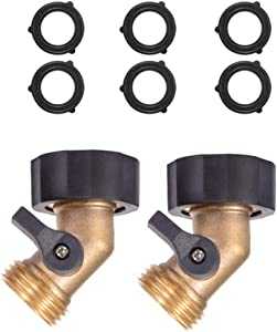 ZKZX Heavy Duty Brass Shut Off Valve Garden Hose Connector with Comfort Grip 3/4 Male and Female Thread 2pcs +6 Extra Pressure Washers (B)