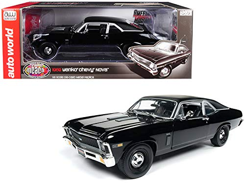 10th Anniversary Car - DIECAST 1:18 American Muscle - 1969 YENKO Chevrolet NOVA (Black with Matte Black TOP) - Muscle CAR and Corvette Nationals 10TH Anniversary AMM1178 by AUTO WORLD
