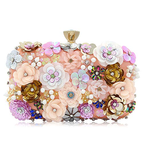 Sequins Clutch Evening Bag Flower SODIAL Satin Evening Colorful Women Clutches vqOzxBwBY