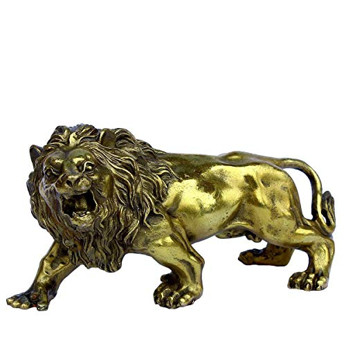 (OHAYA African Lion Statue Golden Wealth Figurine Home Decor Gift Ornaments Fengshui Handmade Brass Magical and)