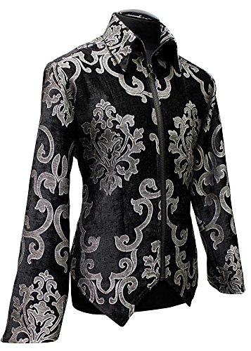 Shrine Gothic Rocker Retro Silver Black Velvet Brocade Villain Jacket (M)