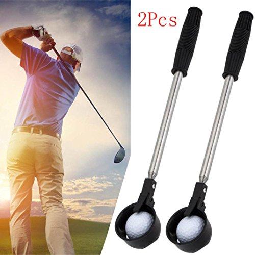 2 Pcs Lightweight Golf Ball Pick Up Retriever Golf Ball Retriever Golf Ball Picker Stainless Steel Shaft by Shuwe